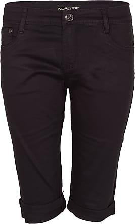 Noroze Womens Cotton Combat Chino Capri Cargo Shorts (Black, 2XL)