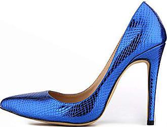 a760f2d3fb4292 Aisun Damen Modisch Spitz Schuh Krokodil Muster Stiletto Low Top Pumps Blau  40 EU