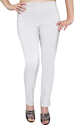 Eyecatch Eye Catch - Ladies Pull On Straight Smooth Super Stretch Elasticated Trousers Womens Pants White Size 24