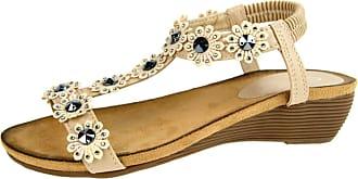 Lora Dora Womens Jewel Wedge Sandals Elastic Stretch Shoes Flower Studs Nude 6 UK