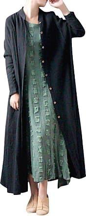 JERFER Women Cotton Solid Button Long Sleeve Thin Maxi Coat Autumn Winter Coat Casual Fashion Maxi Cardigan Black