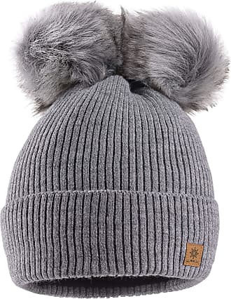 morefaz Women Ladies Winter Beanie Hat Knitted Chunky with Double Faux Fur Pom Pom (Grey)
