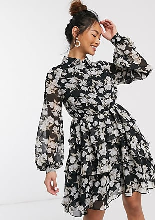 In The Style x Stephsa skater shirt dress in mono floral print-Multi