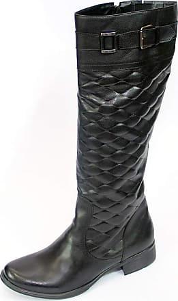 Generico bota feminina montaria, em legitimo couro bovino, tipo latego, forrada em tecido espumado, solado de borracha modelo 208 (36, preto)