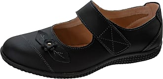 Boulevard Womens Wide FIT EEE Leather Lined Velcro Shoes Size 3-8 Black (3)
