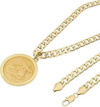 Tudo Joias Kit Medalha São Jorge com Corrente 8mm Folheado a Ouro 18k