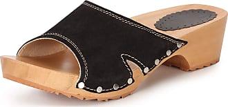 Ladeheid Women´s Wood Shoes Clogs House Shoes LAFA085 (Black, 36 EU = 3.5 UK)