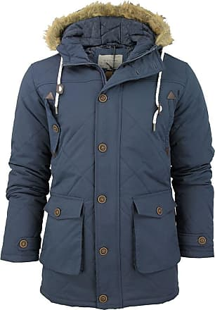 Love my Fashions Mens Brave Soul Quilted Padded Parka Jacket/ Coat Cheltenham Hoddie/ Hooded (Navy) L