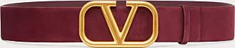 Valentino Garavani Valentino Garavani Cintura Vlogo Signature In Pelle Scamosciata 40 Mm Donna Rubino 100% Pelle Di Vitello - Bos Taurus 100
