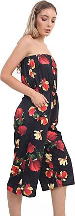 Momo & Ayat Fashions Ladies Lightweight Strapless Culotte Bandeau Short Cropped Jumpsuit Bardot Playsuit UK Size 8-26 (L/XL (UK 16-18), Black Floral)