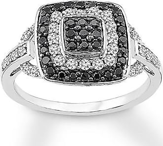 Kay Jewelers Black & White Diamond Ring 5/8 ct tw Round-cut Sterling Silver