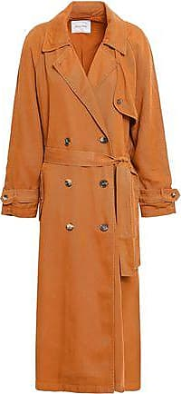 American Vintage American Vintage Woman Double-breasted Twill Trench Coat Tan Size ONESIZE