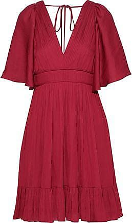 d6a49ab3069876 Halston Heritage Halston Heritage Woman Cape-effect Crepe De Chine Mini  Dress Claret Size 0