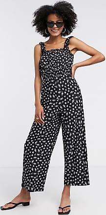 Topshop shirred jumpsuit in black floral-Multi