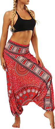 FNKDOR Fashion Style Women Casual Summer Dance Sport Charming Loose Yoga Trousers Baggy Boho Aladdin Jumpsuit Harem Pants Trousers(Red,Free Size)