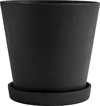 HAY Blumentopf mit Untersetzer XXL - schwarz/H 24,5cm/Ø 26cm