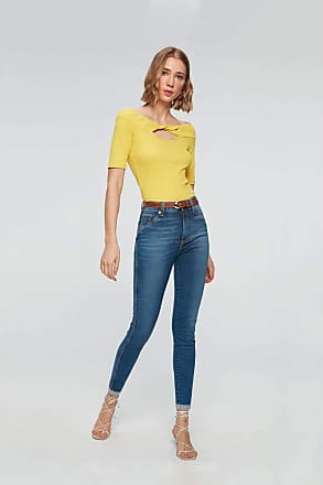 Damyller Calça Cropped Jeans Cintura Altíssima Tam: 38 / Cor: BLUE
