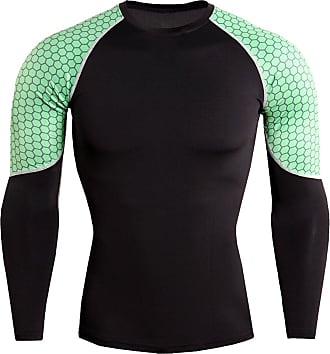 YiJee Mens Running Tops Quick Dry Fitness Compression Base Layer Long Sleeves T-Shirts Green 4XL