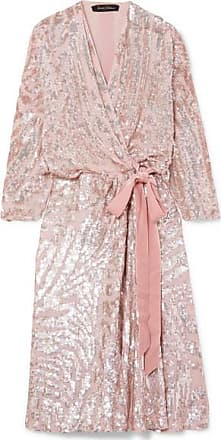 26573097 Jenny Packham Lamour Velvet-trimmed Sequined Chiffon Wrap Dress - Blush