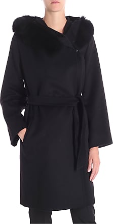 Max Mara Cappotto Mango nero con pelliccia 537be129add