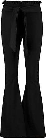 Be Jealous Womens Ladies High Waisted Paper Bag Flared Bell Bottom Palazzo Belted Trousers Black