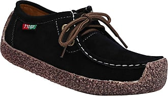 Daytwork Boat Shoes Loafers Moccasins - Girls Womens Ballet Flats Lace-up Breathable Driving Suede Leather Casual Work Flats Office Slip On Black
