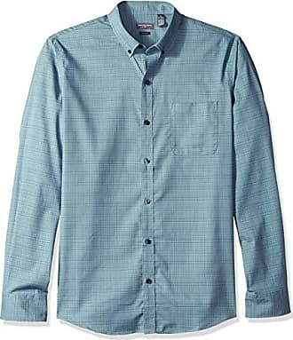Van Heusen Mens Slim Fit Flex Stretch Non Iron Shirt, Dark Aqua Midnight, Medium Slim
