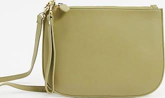 Warehouse top zip half moon crossbody bag in green