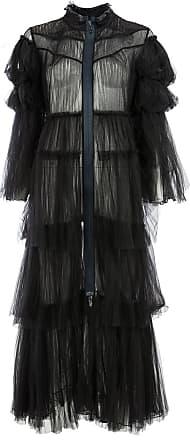 Quetsche ruflled sheer coat - Black