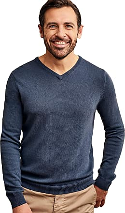 WoolOvers Mens Cashmere and Merino V Neck Jumper Dusk Blue, XXL