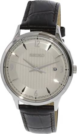 Seiko Mens SGEH83 Silver Leather Japanese Quartz Fashion Watch