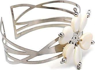 Tinna Jewelry Pulseira Bracelete Flor De Madrepérola (Prateado)