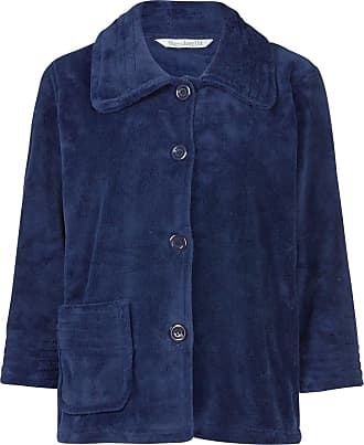 Slenderella Womens Button Up Soft Fleece Bed Jacket Housecoat with Pocket Large (Navy Blue)