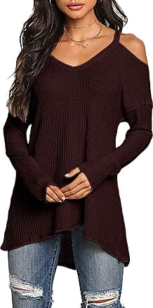Yoins Women Cold Shoulder Baggy Shirt Long Sleeves Knitted Top Off Shoulder Blouses, Wine Red-new-1, XXL