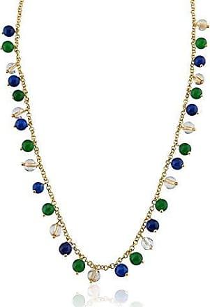 Toque De Joia Colar semijoia pedras naturais quartzos azul, verde e rutilo dourado