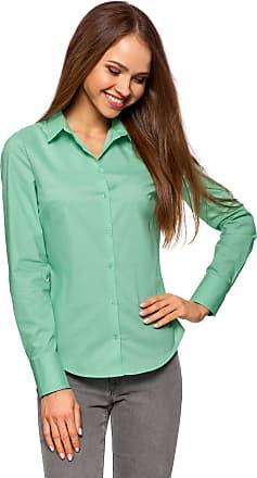 oodji Womens Basic Cotton Shirt, Green, UK 14 / EU 44 / XL