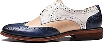 MGM-Joymod Womens 21025 Classic Lace-up Casual Vintage Simple Comfortable Perforated Wingtip Brogues Oxfords Flats Dress Leather Shoes (Blue Pink) 7 M UK