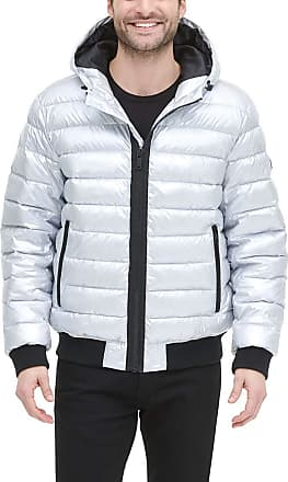 DKNY Mens Quilted Performance Hooded Bomber Jacket Down Alternative Coat, Grey Pearlized, Medium