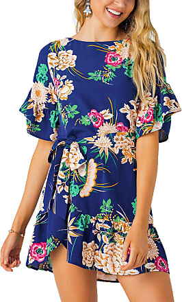 Yoins Women Floral Printed Dress Short Sleeve Mini Dress Casual Summer Pleated Dresses Blue