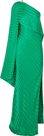 Michelle Mason One-shoulder Cape-effect Striped Silk-satin Jacquard Gown - Green