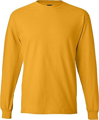 Hanes Beefy-T Mens Long-Sleeve T-Shirt, 5186, XL, Gold