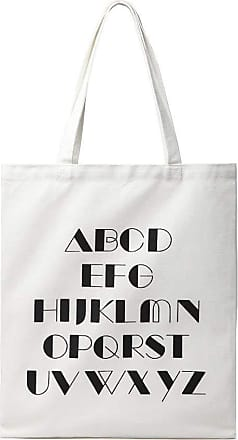 Quirk Canvas Alphabet Shopper Tote Bag - Natural/White