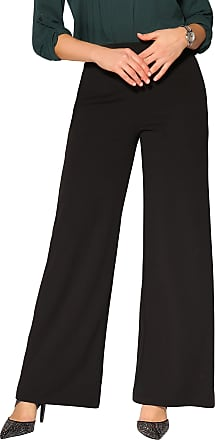 Krisp 3094-BLK-20: High Waist Wide Leg Trousers Black
