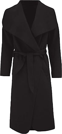 ZEE FASHION Womens Ladies Italian Trench Long Coat Waterfall Duster Cape Belted Cardigan Jacket Wrap Black
