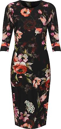 Islander Fashions Womens Short Sleeve Floral Printed Crepe Fabric Midi Dress - Black Floral - UK 18