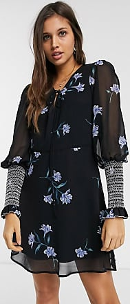 We Are Kindred havana shirred floral mini dress-Black