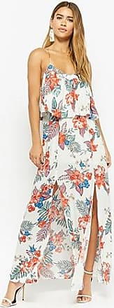 Forever 21 Forever 21 Floral Flounce Maxi Dress Ivory/red