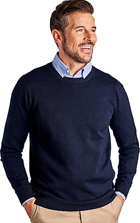 WoolOvers Mens New Merino Crew Neck Knitted Jumper Navy, S