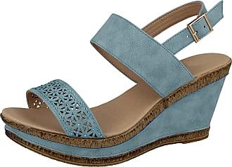 Cushion-Walk Ladies Leather Lined Wedge Peep Toe Strappy Summer Sandal Size 3-8 (4 UK, Blue E)