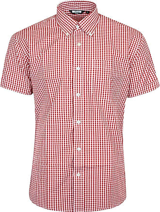 Relco Mens Red White Classic Gingham Shortsleeve Button Down Polycotton Shirt XXX-Large